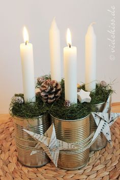 Creating a Rustic Winter Christmas Centerpiece can be easier than you think. Come see these creative ideas for creating your own Rustic Winter Centerpiece! Advent Candles, Christmas Candles, Christmas Centerpieces, Rustic Christmas, Xmas Decorations, Winter Christmas, Christmas Home, Christmas Ornaments, Recycled Christmas Decorations