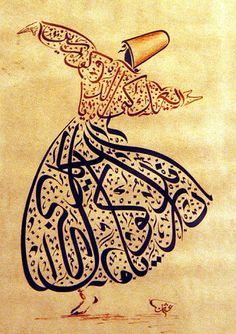 Rumi, Calligraphy is an ancient art of handwriting for which people took much pride in creating. This specific picture of a dancing man in traditional middle eastern garment consists of arab calligraphy. Arabic Calligraphy Art, Arabic Art, Beautiful Calligraphy, Art Arabe, Typographie Fonts, Middle Eastern Art, Art Antique, Turkish Art, Land Art