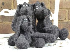 Teddy dog Shuggie hand knitted dog hand made toy by timrava,