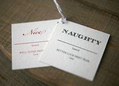 Holiday Gift Tags Naughty & Nice Christmas Tags by FoglioPress, $12.00