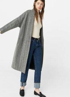 Balıksırtı desenli yün palto