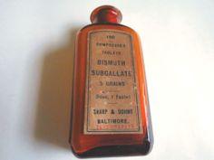 Sharp & Dohme Medicine Bottle Bismuth Subgallate Amber Bottle  #SharpDohme Amber Bottles, Bottles And Jars, Medicine Bottles, Bismuth, Antiques, Ebay, Antiquities, Antique, Old Stuff
