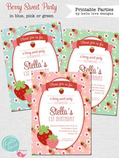 Berry Sweet Strawberry Party FULL Printable Birthday Party Collection: 3 colorways--blue, green or pink {hello love designs via Etsy} Birthday Bash, First Birthday Parties, Birthday Invitations, First Birthdays, Birthday Ideas, Invites, Strawberry Shortcake Birthday, Gender Party, Little Girl Birthday
