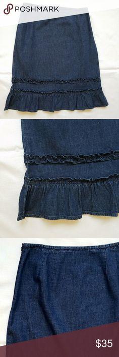 JUST ADDED LOFT Ruffle Hem Denim Skirt Ann Taylor Loft Ruffle Hem Demin Skirt. S 6. NWOT LOFT Skirts