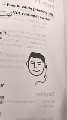 This manual from 1994 has a smiling Japanese man wearing a headset emoji