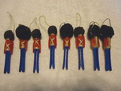 """Vintage ? Set Of 8 Hand Made Nut Cracker Christmas Tree Ornaments """" AWESOME SET #vintage #collectibles #home"""