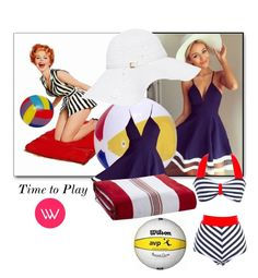 """Time to play"" by cartersplace ❤ liked on Polyvore featuring Melissa Odabash, Kassatex and Unique Vintage"