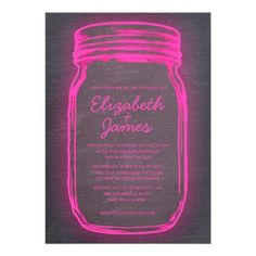 Pink & Black Vintage Mason Jar Wedding Invitations Custom Invites #PinkAndBlackObsession