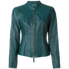 Desa 1972 Fiited Zip Jacket (495 AUD) ❤ liked on Polyvore featuring outerwear, jackets, green, blue leather jacket, blue zipper jacket, leather zip jacket, zip jacket and real leather jackets