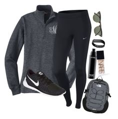 Where are you now that I need you by lacrosse-19 on Polyvore featuring NIKE, Fitbit, The North Face, Ray-Ban, MAC Cosmetics and NARS Cosmetics