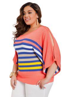 bf0e0b30315 Plus size split slit sleeve dolman sweater top.....Ashley Stewart coral