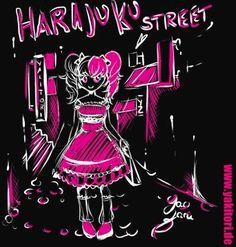 Harajuku Street - Yao Zaro. Weitere tolle Motive für Shirts oder Taschen findet Ihr auf unserem tollen Onlineshop www.yakitori.de. Mehr noch! Alles zum Thema Cosplay, Manga, Japan und Kimono.