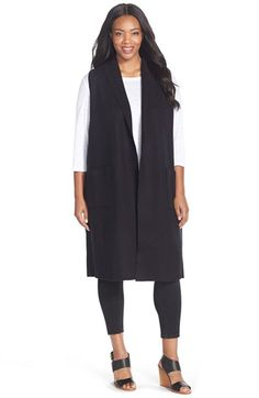 Eileen Fisher Boiled Wool Long Vest (Plus Size) available at #Nordstrom