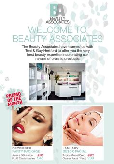 December and January offer 2015 Flyer. For Beauty Associates Jessica Geleration, Toni And Guy, Detox, Salons, Facial, December, How To Make, Beauty, Book