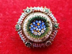 vintage micro mosaic   ANTIQUE-VINTAGE-GOLD-PLATED-ITALIAN-TINY-MICRO-MOSAIC-FLOWER-BROOCH ...