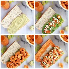 Grilled Buffalo Shrimp Sandwich with Spicy Avocado Ranch Dressing: oh man is this fantastic!!! Avocado/Greek yogurt sauce, spicy (low fat) shrimp, and a whole wheat baguette make this a to-die-for, i-feel-like-i'm-spulrging healthy meal!!!
