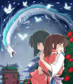 Anime picture spirited away studio ghibli haku (spirited away) ogino chihiro haku (dragon) tall image short hair open mouth ponytail eyes closed aqua eyes hug tears crying fantasy bob cut girl boy flower (flowers) plant (plants) 174416 en Hayao Miyazaki, Studio Ghibli Art, Studio Ghibli Movies, Wallpaper Casais, Spirited Away Haku, Spirited Away Dragon, Le Vent Se Leve, Chihiro Y Haku, Studio Ghibli Spirited Away