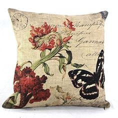 Onker Cotton Linen Square Decorative Throw Pillow Case Cushion Cover 18 x 18 Red Flower Retro Vintage Butterfly *** Find out more about the great product at the image link.