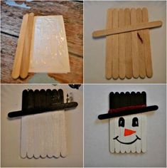 Art Craft Ideas Popsicle Sticks Kunsthandwerk Ideen Eis Am Stiel Sticks – PiWitter Paint Stick Crafts, Diy Popsicle Stick Crafts, Popsicle Sticks, Snowman Crafts, Fun Crafts, Christmas Crafts, Diy And Crafts, Arts And Crafts, Snowman Hat
