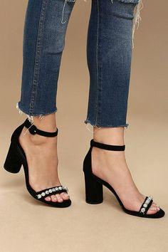 #AdoreWe #Lulus Lulus❤️Designer Footware Steve Madden Sparkles Black Suede  Leather Rhinestone Heels