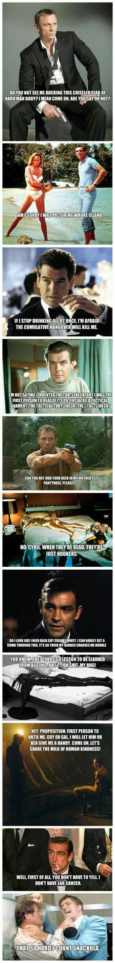 Archer quotes over James Bond stills. Lol