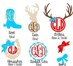 5 Custom Country Girl Decals with Monogram by CypressLaneDesigns