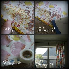 no sew window treatments - cute love the fabric No Sew Curtains, Window Dressings, Frame Wall Decor, Decorating On A Budget, Window Treatments, Picture Frames, Sewing Projects, House Design, Playroom Ideas