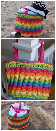 Chevron beach bag crochet pattern. No need for a lining on this bag crochet pattern.