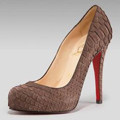 Christian Louboutin Sueded Python Pump