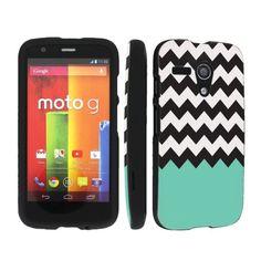 SkinGuardz Desinger Black Hard Case for Motorola Moto G - Mint Green Black Chevron 9.98+3.47 shipping