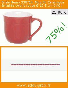Emile Henry 338714  Mug En Céramique Emaillée coloris rouge Ø 10,5 cm 0,40 l (Cuisine). Réduction de 75%! Prix actuel 21,90 €, l'ancien prix était de 87,43 €. http://www.adquisitio.fr/emile-henry/338714-lot-4-mugs