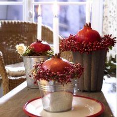 Pomegranate decor | Holiday Ideas like the idea, not the buckets...
