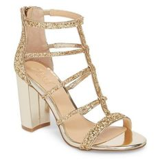 Women's Jewel Badgley Mischka Tiffy Glitter Sandal (320 PEN) ❤ liked on Polyvore featuring shoes, sandals, light gold glitter, glitter shoes, block-heel sandals, monk-strap shoes, cushioned shoes and strappy sandals #GlitterShoes