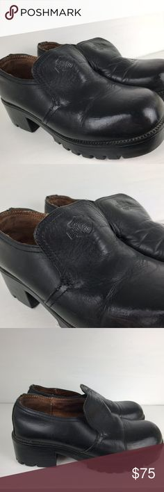 HARLEY DAVIDSON Chunky Low Ankle Boots Clogs 7.5 Harley Davidson Black Leather Motorcycle  Low Heel Low Ankle Boots Slip On Clogs Shoe Black Leather, Womens 7.5  Good gently pre-owned condition with some normal  marks/ few scratches/creases, etc. Harley-Davidson Shoes Ankle Boots & Booties