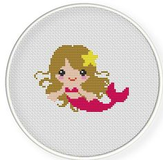Buy 4 get 1 free,Buy 6 get 2 free,Counted Cross stitch pattern,Cross-Stitch PDF,Pink mermaid,zxxc0208. $4.50, via Etsy.
