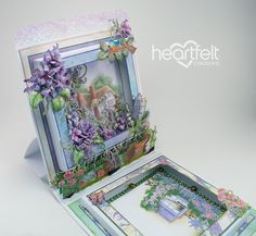 EZ step by step tutorial to create a layered Shadow Box Trinket Holder featuring the Lush Lilac Collection from Creations Box Cards Tutorial, Card Tutorials, Fancy Fold Cards, Folded Cards, Heartfelt Creations Cards, Handmade Birthday Cards, Handmade Cards, Up Book, Easel Cards