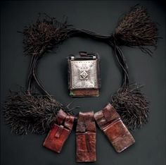 Africa | Leather amulet necklace from the Tuareg people of the Hoggar in Algeria.