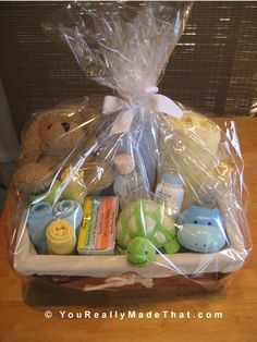 Adorable Baby Gift Basket   # Pin++ for Pinterest #--with the sellifane wrapping is exactly what I want to do!!