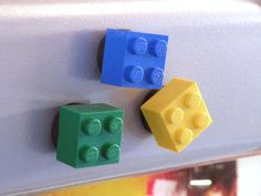 Fridge magnets made with plastic blocks are a fun way to add color to the kitchen. Your kids will be excited to hang up report cards and artwork with these whimsical accents.