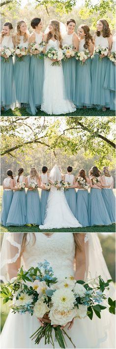 @BHLDN bridesmaid dresses, bridal separates, blue skirt, spring wedding fashion // Elisa Bricker