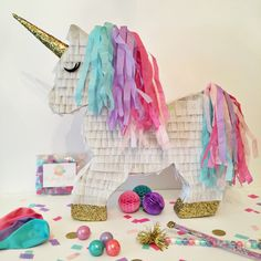 Custom Decorative Unicorn Piñata by darlingdetailsparty on Etsy https://www.etsy.com/listing/474232281/custom-decorative-unicorn-pinata