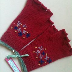 Hand Knitted and Embroidered Fingerless Gloves