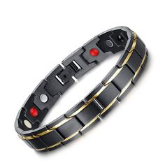 Men Black Gold 316 Stainless Steel Magnetic Therapy Health Care Energy Bracelet  #Unbranded #classicbusiness