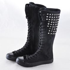 Punk Style Knee High Sneaker Boots Rivet Zipper Lace Up Boots Canvas Shoes Fashion For Women & Girls