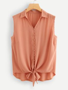 Plus Asymmetrical Knot Collar Button Vest Summer Fashion Outfits, 80s Fashion, Fashion Pants, Fashion Dresses, Dressy Casual Outfits, Cute Outfits, Girl Outfits, Jean Skirt Outfits, Plus Size Women's Tops