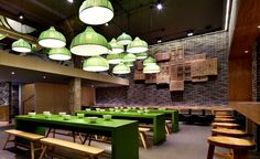 Minimalistic Asian #Restaurant with Fresh Green Elements