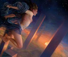 Night Goddess Fantasy Art 5x7 Print Digital Art by bytheoakArt, $13.00