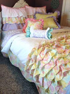 Vintage Poppies Ruffled Girls Bedding by LikeMyMotherDoes on Etsy, $200.00