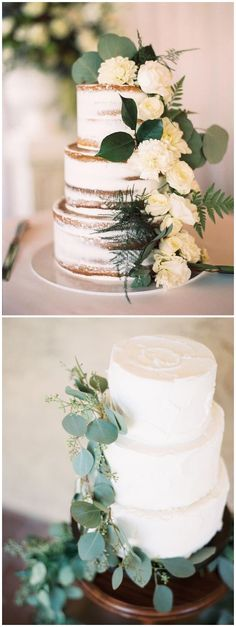 Greenery eucalyptus wedding cakes #green #wedding #weddingideas #dpf #deerpearlflowers / see more ❤️ http://www.deerpearlflowers.com/eucalyptus-wedding-decor-ideas/