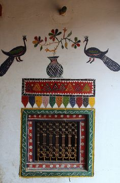 india - gujarat, The houses of the Rabari people in May village are beautifully decorated.
